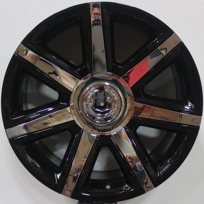 22 Inch CADILLAC BLACK WITH CHROME INSERTS RIMS FITS ESCALADE EXT ESV BRAND NEW