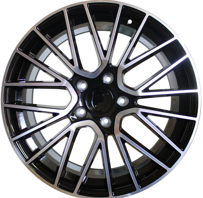 20 Inch Rims Fits Porsche Cayenne Turbo S GTS Base Black Machined Spyder Mesh Wheels - Elite Custom Rims
