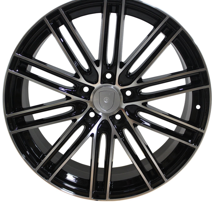 21 Inch Rims Fits Porsche Cayenne Panamera Turbo S GTS Base Machined Black Wheels