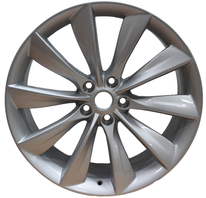 21x8.5 Tesla Model S Model Y Gloss Silver Twist Spoke Style Wheels