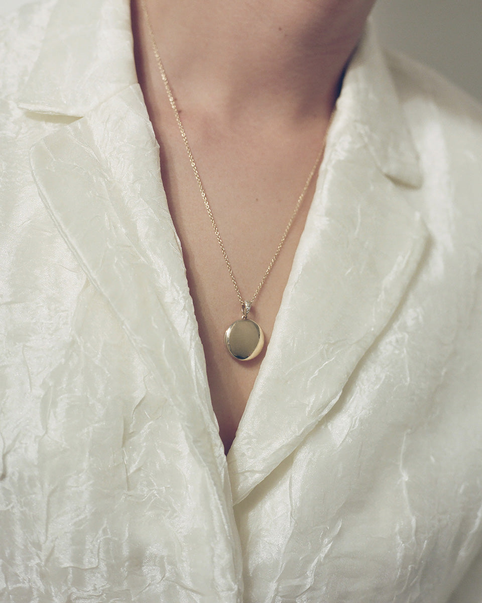 Model wearing J. Hannah Signature Locket with Pave' Diamonds 14k Gold