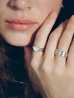 Model wearing J. Hannah Strata Ring Blue Chalcedony silver