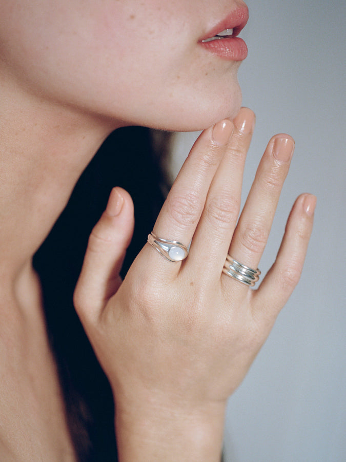 Model wearing J. Hannah Quarry Ring and Strata Ring