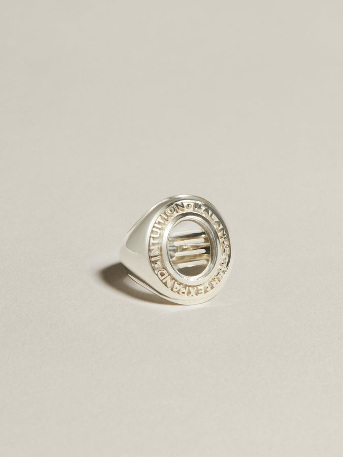 J. Hannah Class Ring Air element Symbol in silver.