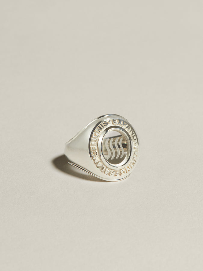 J. Hannah Class Ring Fire Element symbol in silver.