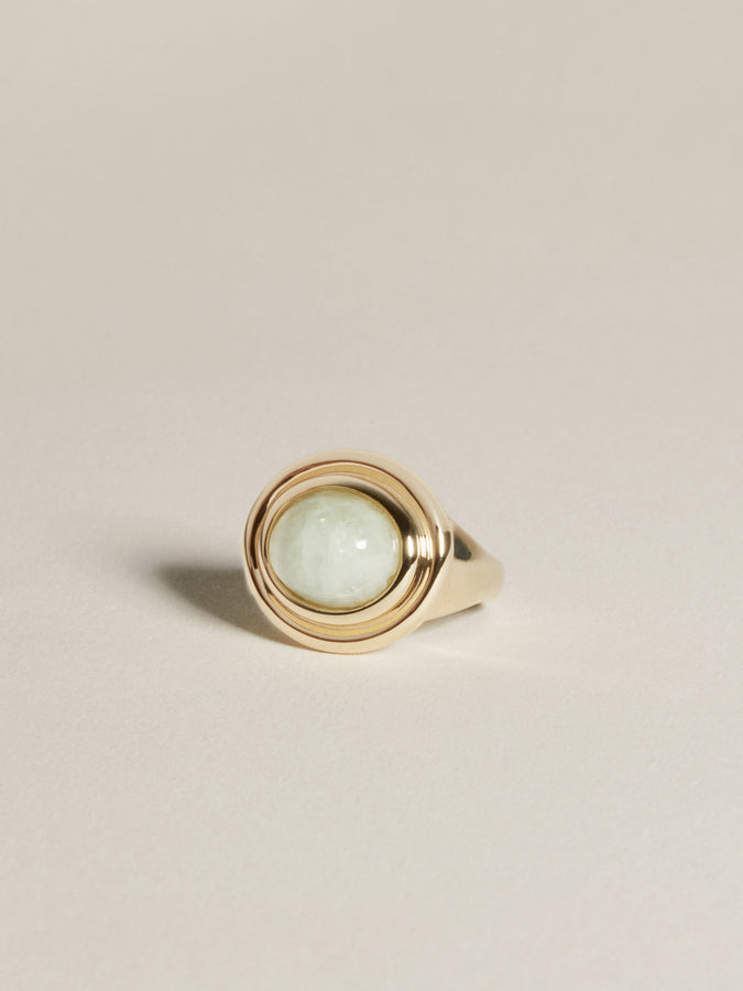 J. Hannah Duet 14k Gold Cocktail Ring with Aquamarine
