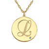 Birthstone Accent Script Initial Necklace