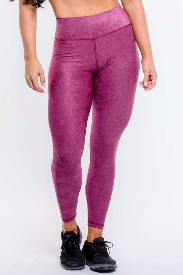 Burgundy Camo Textured Hi-Rise Legging