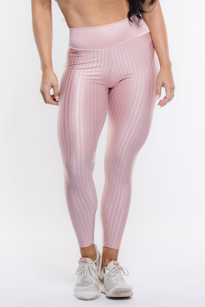 Light Pink Striped Hi-Rise Legging
