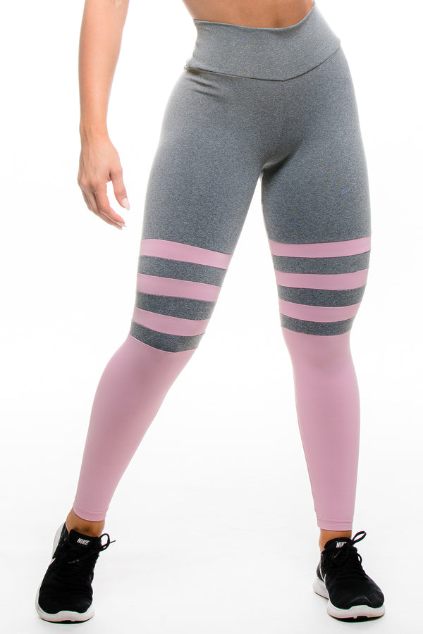 Grey and Light Pink Collegiate Hi-Rise Legging