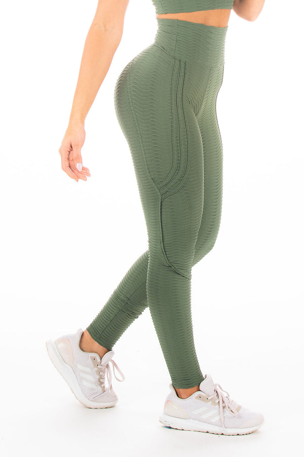 Army Green Butt Lifting Hi-Rise Legging