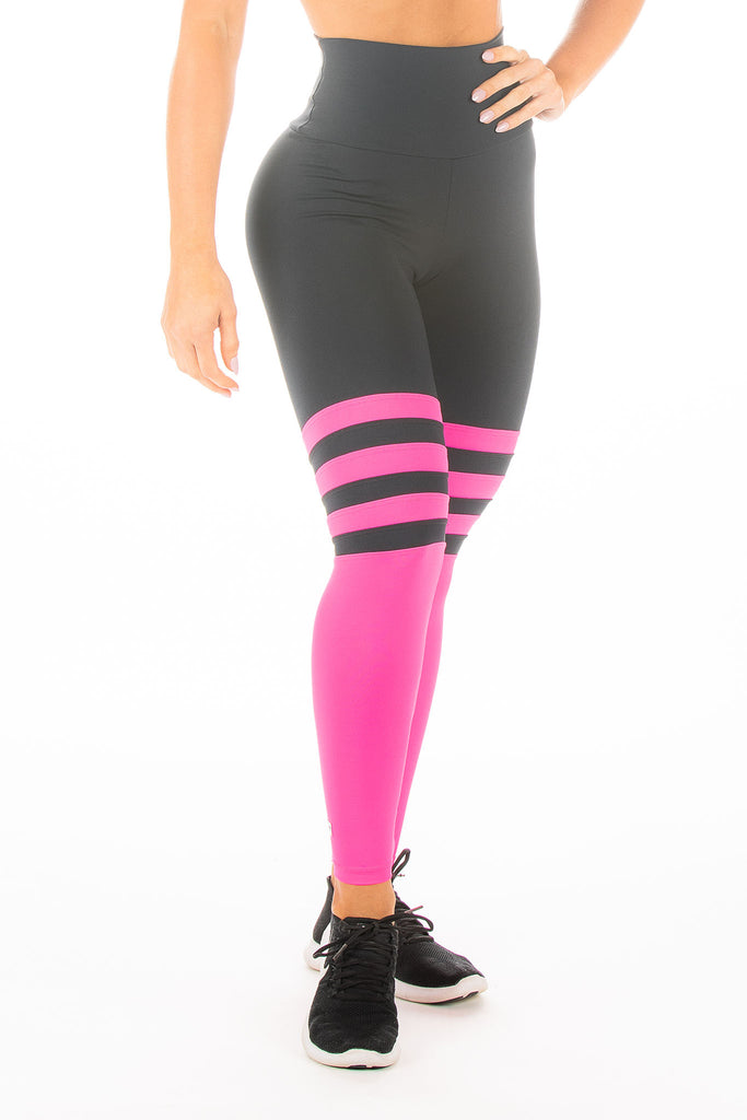 Black and Neon Pink Collegiate Hi-Rise Legging
