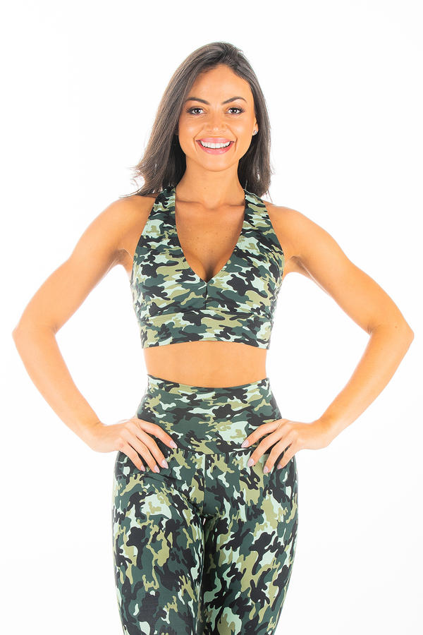 Army Green Camo V Neck Sports Bra