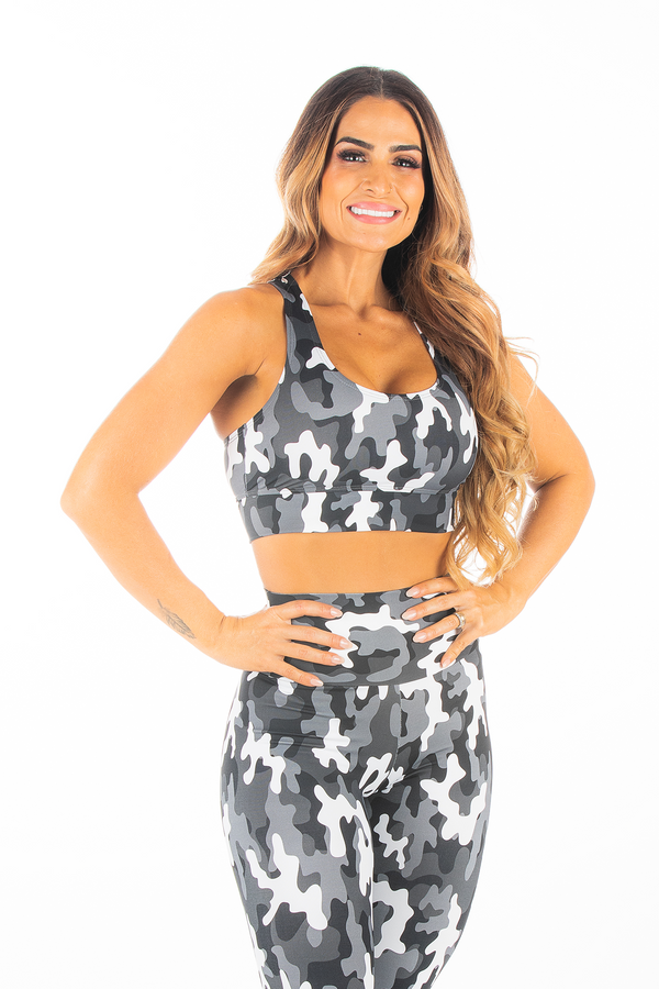 Black and White Camo Essential Sports Bra
