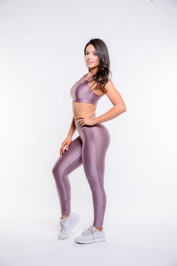 Rose Gold Striped Hi-Rise Legging