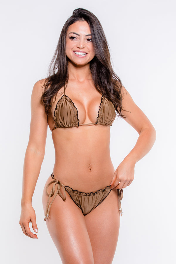 Dark Gold Brazilian Ripple Bikini