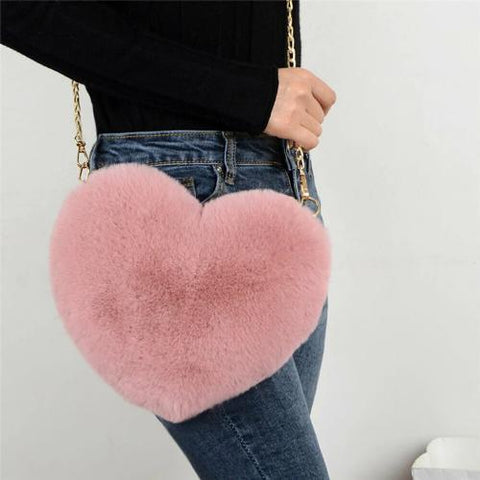 'Fuzzy Feels' Heart Crossbody Crossbody XOhalo
