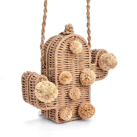 'Cactus Pop' Straw Bag Shoulder Bag XOhalo