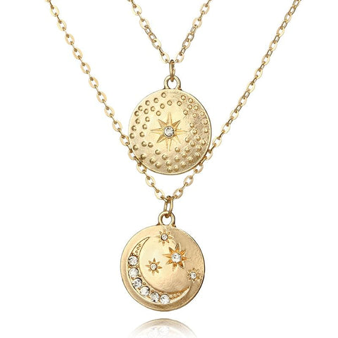 'Moon Coin' 2 PC. Dual Layer Necklace XOhalo