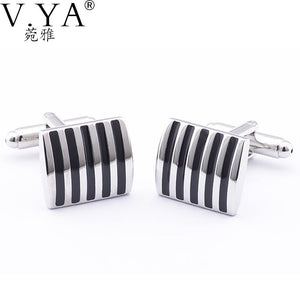 V.Ya  Black Stripes Paint Square Metal Pattern Cuff Links for Shirts Cuff links Glossy Exquisite Button High Quality Cuff-links