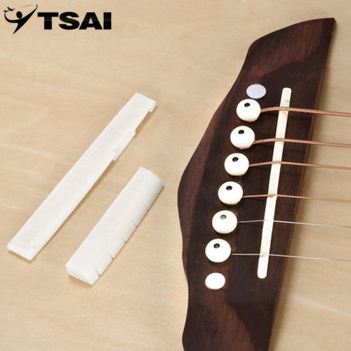 TSAI Professional Buffalo Bone Bridge Bone Slotted Nut Uncarved Saddle Set Guitar Replacement For 6 String Classical Guitar Part