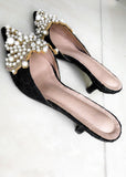 Bella Pearl Kitten Heel Black - Cocomely