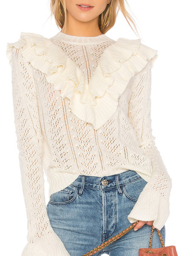 Nima White Ruffle Sweater - Cocomely