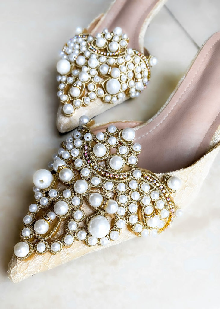 Bella Pearl Kitten Heel Cream - Cocomely