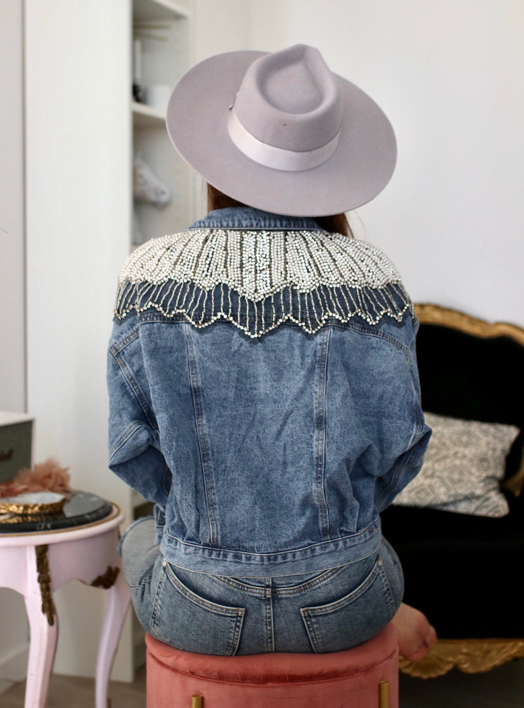 Lola Pearl Denim Jacket - Cocomely