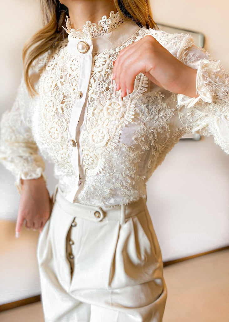 Mia Pearl Button Blouse | Apricot - Cocomely