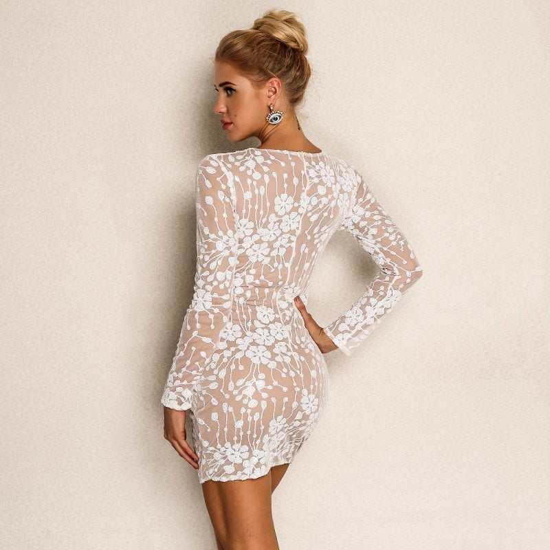 Cadence Embroidered Sequin Mini Dress - Time Glam