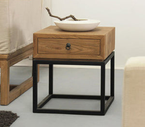 Rustic Industrial Single Drawer Nightstand