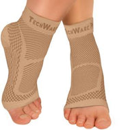 TechWare Pro® Ankle / Foot Compression Sleeve In 3 Sizes - Beige & Beige, 1 Pair