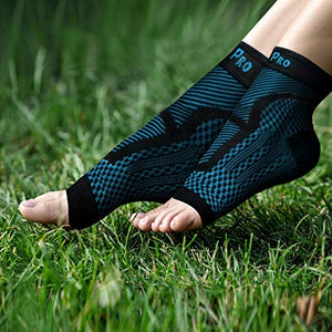 Ankle & Foot Compression Sleeve In 3 Sizes - Black & Blue, 1 Pair