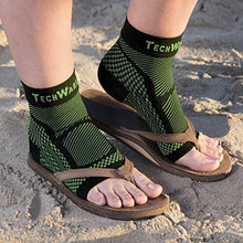 TechWare Pro® Ankle / Foot Compression Sleeve In 3 Sizes - Black & Green, 1 Pair