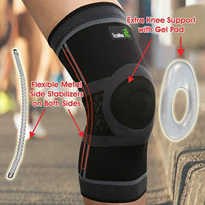 Knee Compression Sleeve with Gel Pad & Side Stabilizers - Black & Gray - Available in 5 Sizes