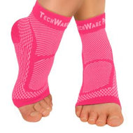 TechWare Pro® Ankle / Foot Compression Sleeve in 2 Sizes - Pink & White, 1 Pair
