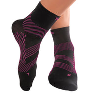 TechWare Pro® Thin Compression Sock In 2 Sizes - Black & Pink, 1 Pair
