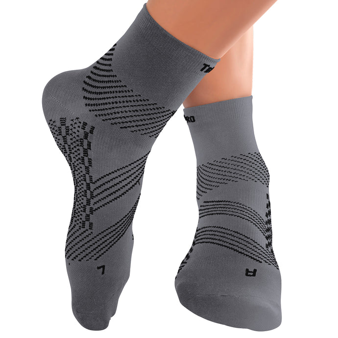 Thin Compression Sock In 4 Sizes - Gray & Black, 1 Pair
