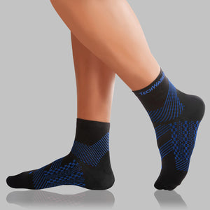 TechWare Pro® Thin Compression Sock In 4 Sizes - Black & Blue, 1 Pair