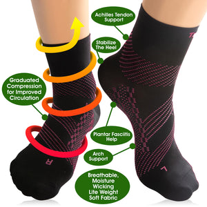 Thin Compression Sock In 3 Sizes - Black & Pink, 1 Pair
