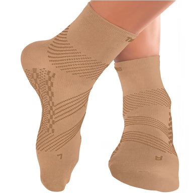 TechWare Pro® Thin Compression Sock In 4 Sizes - Beige & Beige, 1 Pair