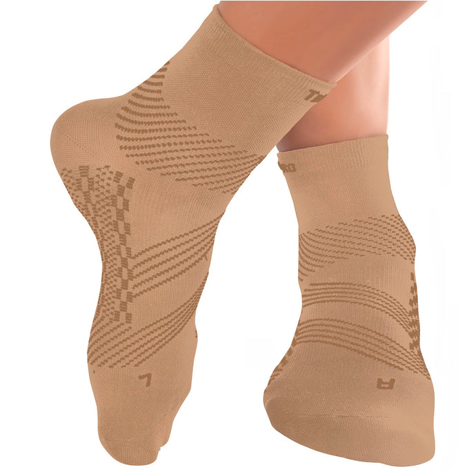 Thin Compression Sock In 4 Sizes - Beige & Beige, 1 Pair