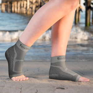 Ankle & Foot Compression Sleeve in 3 Sizes - Gray & Black, 1 Pair