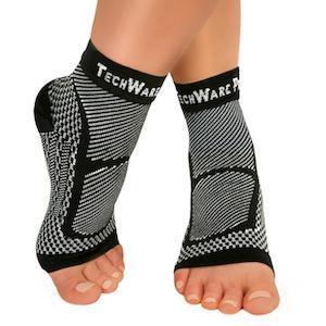 TechWare Pro® Ankle / Foot Compression Sleeve in 3 Sizes - Black & White, 1 Pair