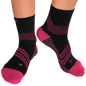 TechWare Pro® Targeted Cushion Compression Sock In 3 Sizes - Black & Pink, 1 Pair