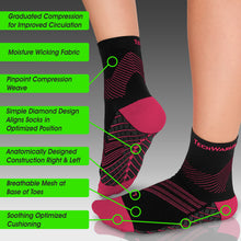 Targeted Compression Sock with Cushioning In 2 Sizes - Black & Pink, 1 Pair