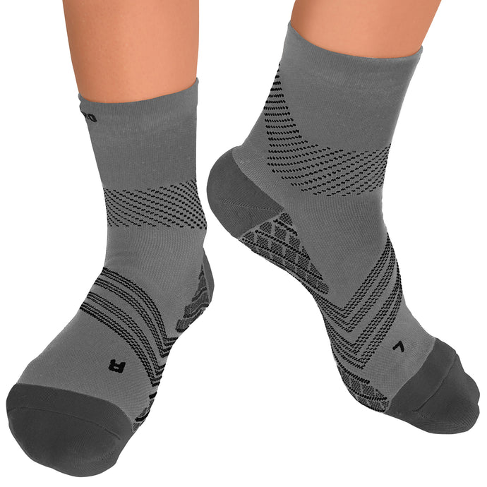 TechWare Pro® Targeted Cushion Compression Sock In 4 Sizes - Gray & Black, 1 Pair