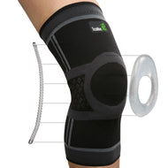TechWare Pro® Knee Compression Sleeve - Gel Pad & Side Stabilizers - Black & Gray - Available in 5 Sizes