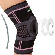 Knee Compression Sleeve with Gel Pad & Side Stabilizers - Black & Pink - Available in 5 Sizes